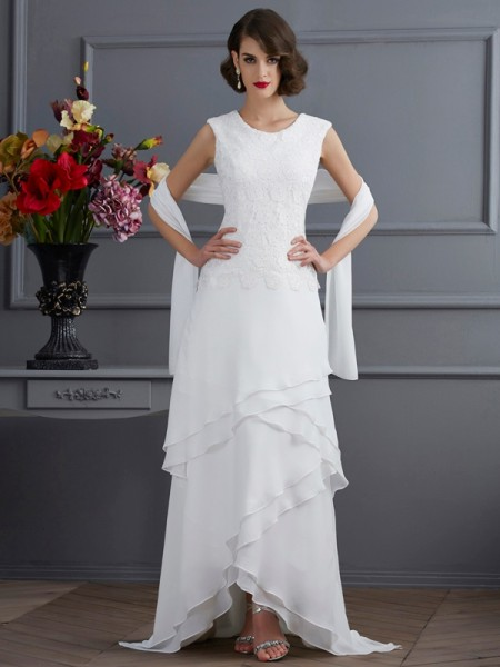 Fashion Sheath/Column Sleeveless Lace Bateau High Low Chiffon Mother of the Bride Dresses