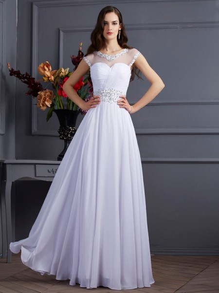 Fashion A-Line/Princess Short Sleeves Beading Bateau Long Chiffon Dresses