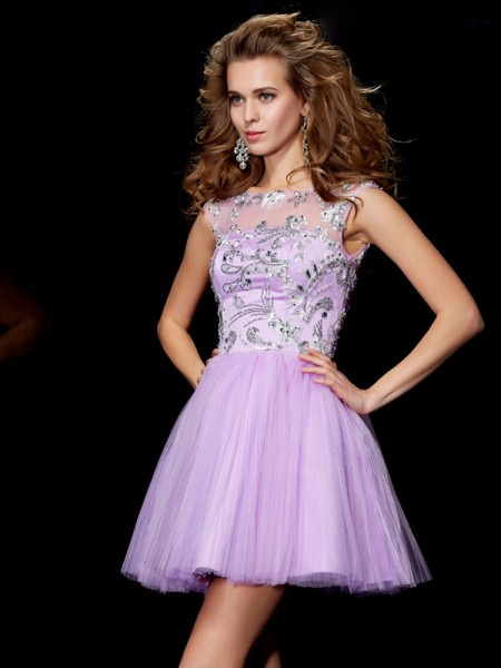 Stylish A-Line/Princess Short Sleeves Beading Bateau Short Satin Homecoming Dresses