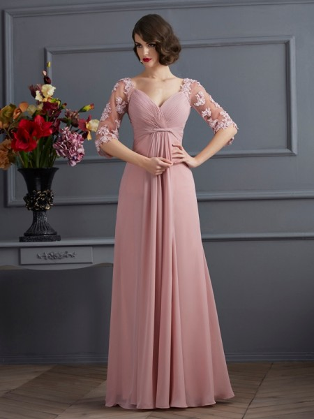 Stylish A-Line/Princess 1/2 Sleeves Beading Sweetheart Long Chiffon Dresses