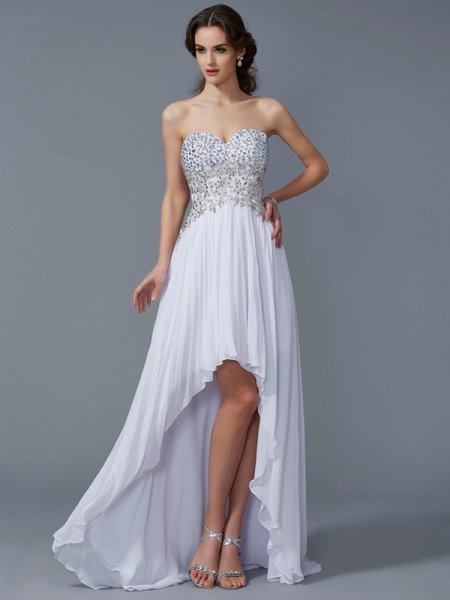 Stylish A-Line/Princess Sleeveless Beading Sweetheart High Low Chiffon Dresses