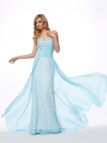 Stylish A-Line/Princess Sleeveless Long Sweetheart Beading Chiffon Dresses