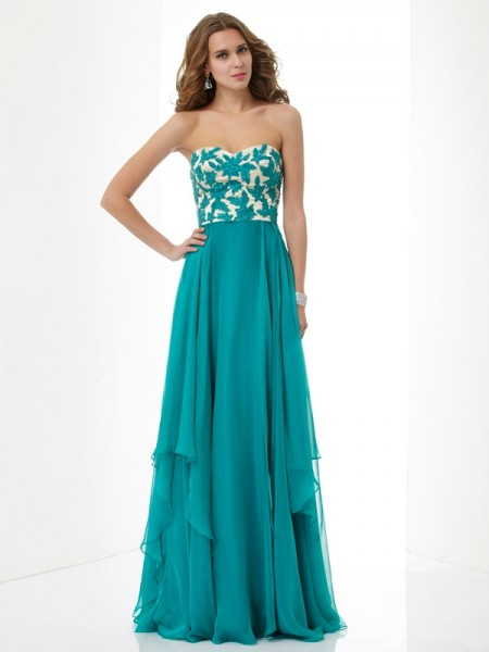 Stylish A-Line/Princess Sleeveless Applique Sweetheart Long Chiffon Dresses