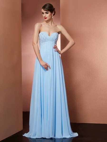 Stylish A-Line/Princess Sleeveless Beading Sweetheart Long Chiffon Dresses
