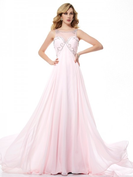 Fashion A-Line/Princess Sleeveless Beading Scoop Long Chiffon Dresses