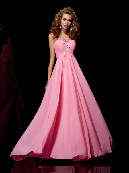 Fashion A-Line/Princess Sleeveless Beading Straps Long Chiffon Dresses