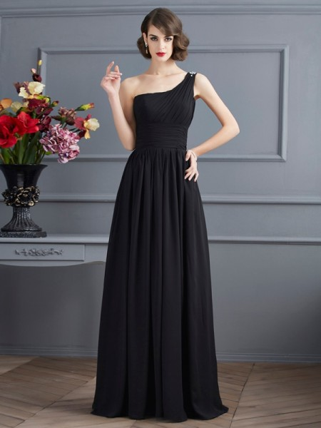 Stylish A-Line/Princess Sleeveless Chiffon One-Shoulder Long Mother of the Bride Dresses