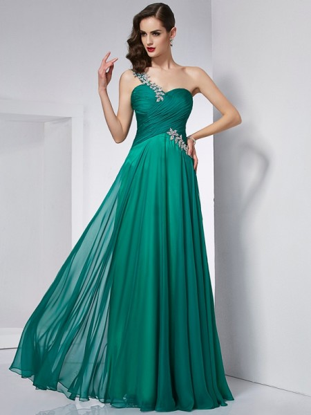 Fashion A-Line/Princess Sleeveless Long One-Shoulder Chiffon Dresses