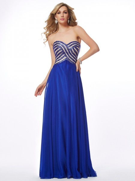 Stylish A-Line/Princess Sleeveless Long Sweetheart Chiffon Dresses