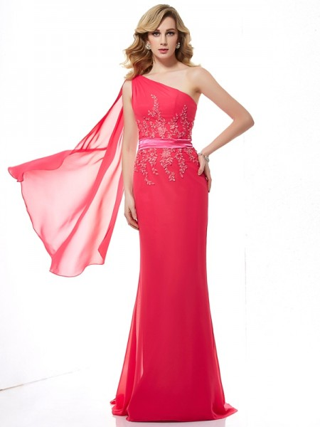 Fashion Sheath/Column Applique Sleeveless One-Shoulder Beading Long Chiffon Dresses