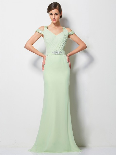 Fashion A-Line/Princess Sleeveless Beading V-neck Long Chiffon Dresses