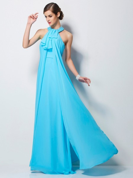 Stylish Sheath/Column Sleeveless Beading Halter Long Chiffon Dresses