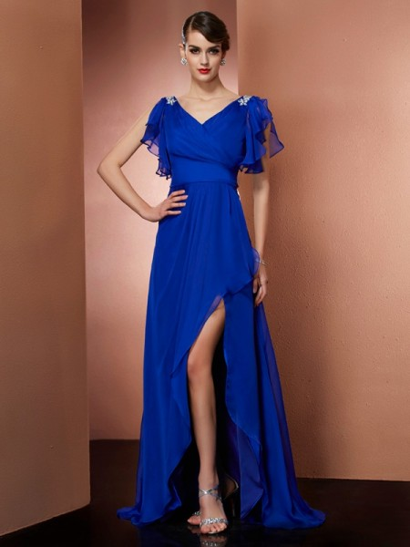 Stylish A-Line/Princess Sleeveless Beading V-neck High Low Chiffon Dresses