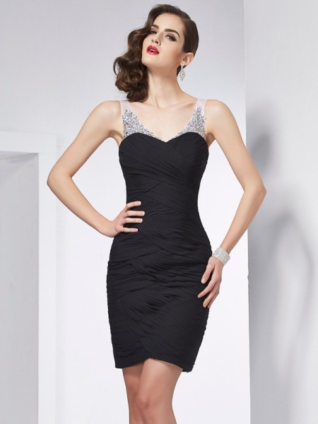 Fashion Sheath/Column Sleeveless Beading Straps Short Chiffon Homecoming Dresses
