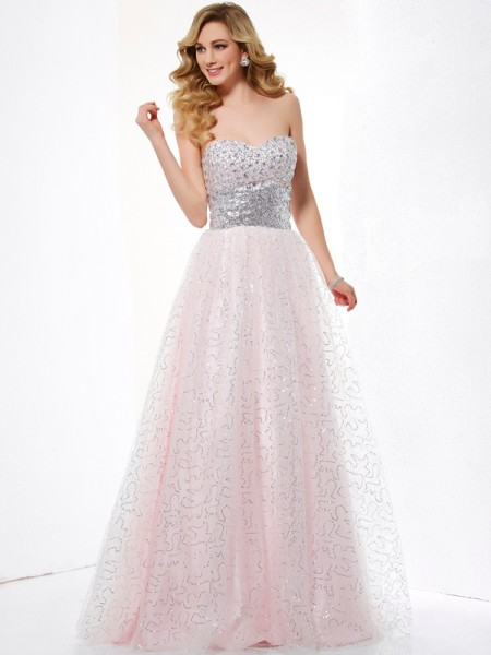Stylish Ball Gown Sleeveless Long Sweetheart Net Dresses