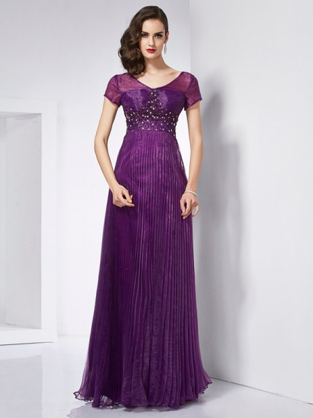 Stylish A-Line/Princess Short Sleeves Beading V-neck Long Organza Dresses