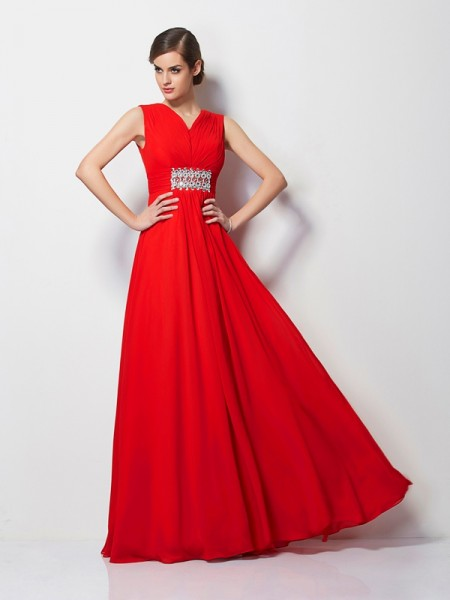 Fashion Sheath/Column Short Sleeves Beading V-neck Long Chiffon Dresses