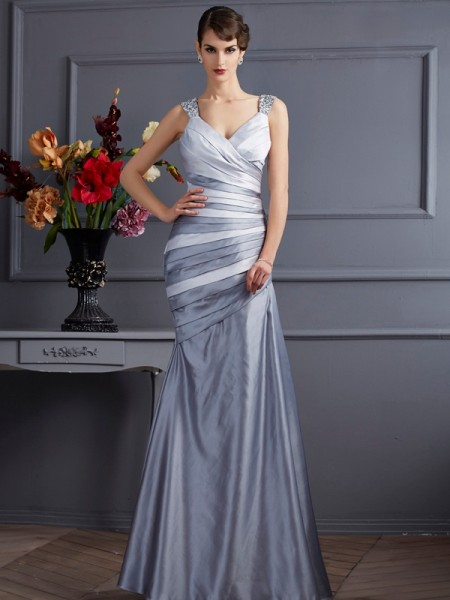Stylish Trumpet/Mermaid Sleeveless Pleats Straps Long Satin Dresses