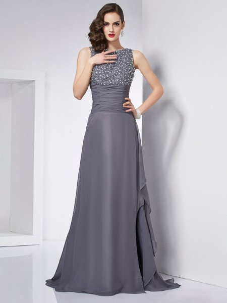 Fashion A-Line/Princess Sleeveless Beading Jewel Long Chiffon Dresses