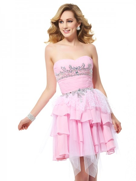 Fashion A-Line/Princess Sleeveless Beading Sweetheart Short Chiffon Homecoming Dresses