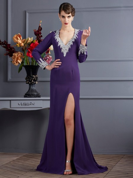 Fashion Trumpet/Mermaid Long Sleeves Beading V-neck Long Chiffon Dresses