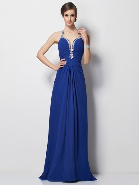 Stylish A-Line/Princess Sleeveless Beading Halter Long Chiffon Dresses