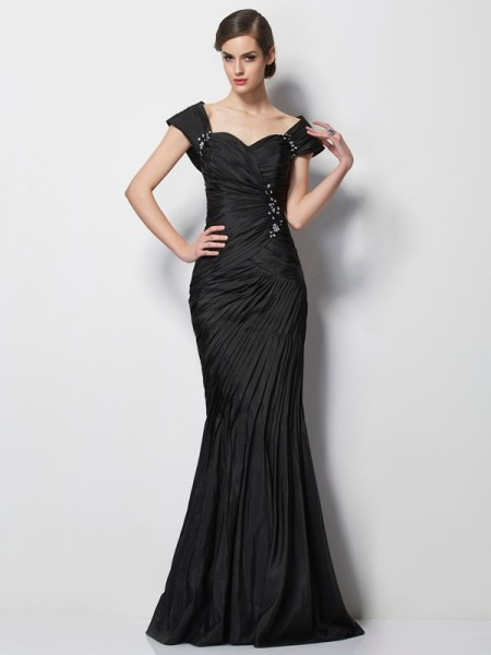 Fashion Trumpet/Mermaid Short Sleeves Beading Sweetheart Long Taffeta Mother of the Bride Dresses