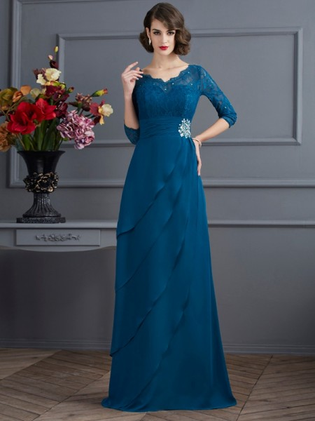 Fashion A-Line/Princess 3/4 Sleeves Long V-neck Chiffon Mother of the Bride Dresses
