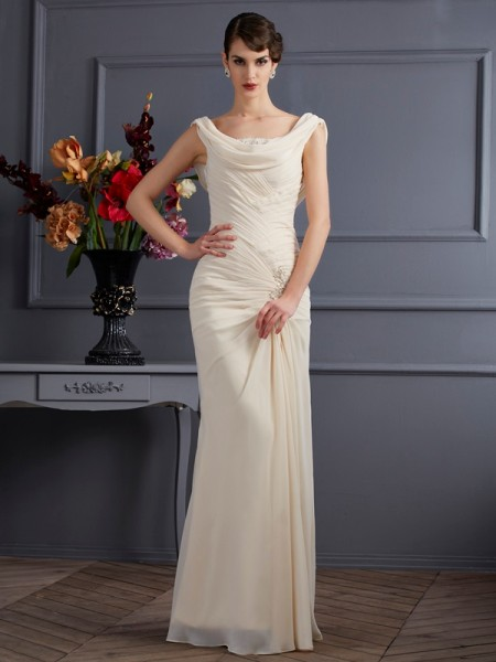 Stylish Sheath/Column Sleeveless Beading Scoop Long Chiffon Dresses