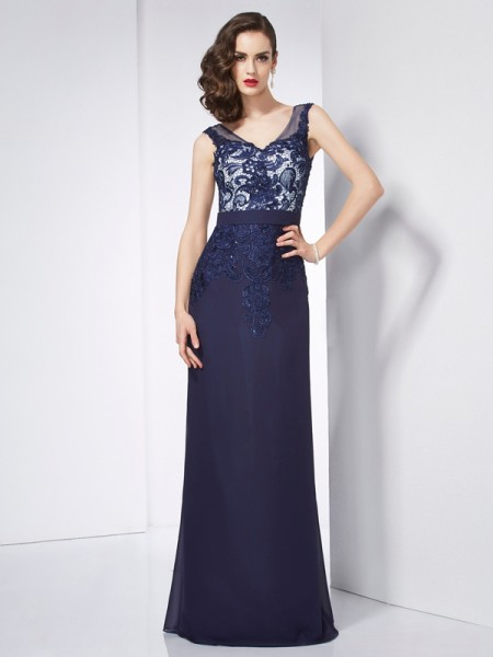 Stylish Sheath/Column Sleeveless Beading V-neck Applique Long Chiffon Dresses