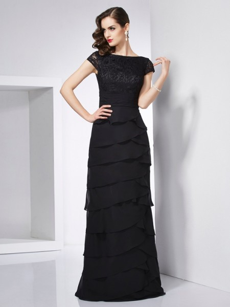 Stylish Sheath/Column Short Sleeves Long Scoop Chiffon Dresses