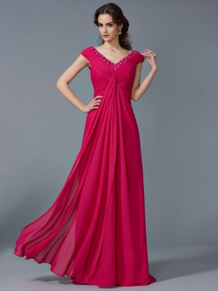 Fashion A-Line/Princess V-neck Short Sleeves Beading Long Chiffon Dresses