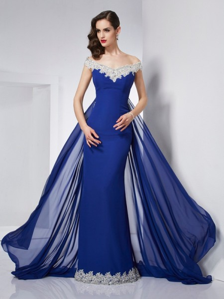 Stylish Trumpet/Mermaid the Shoulder Off Sleeveless Applique Long Chiffon Dresses