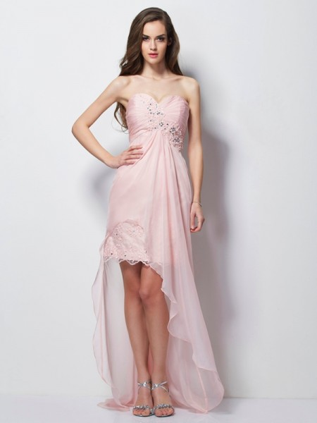 Fashion A-Line/Princess Sleeveless Beading Sweetheart Applique High Low Chiffon Dresses