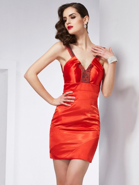 Fashion Sheath/Column Sleeveless Beading V-neck Short Elastic Woven Satin Homecoming Dresses
