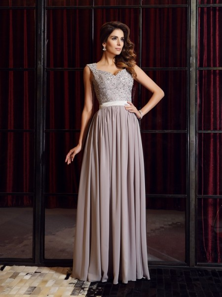 Fashion A-Line/Princess Applique Sleeveless Straps Long Chiffon Dresses