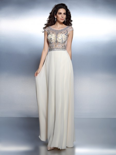 Stylish A-Line/Princess Beading Short Sleeves Bateau Long Chiffon Dresses