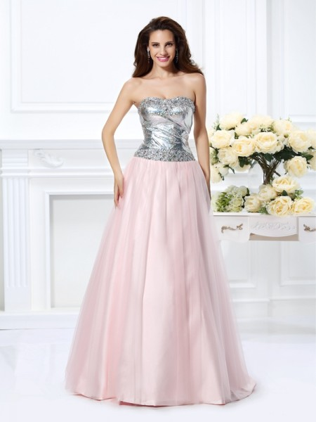Fashion Ball Gown Beading Sleeveless Sweetheart Long Satin Quinceanera Dresses