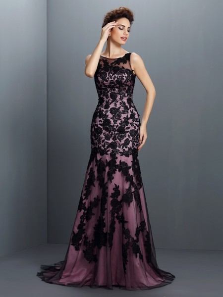 Stylish Trumpet/Mermaid Applique Sleeveless Bateau Long Elastic Woven Satin Dresses