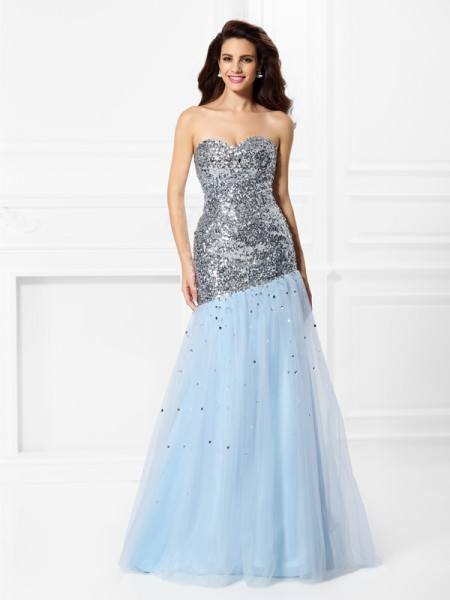 Fashion Trumpet/Mermaid Sequin Sleeveless Sweetheart Long Satin Dresses