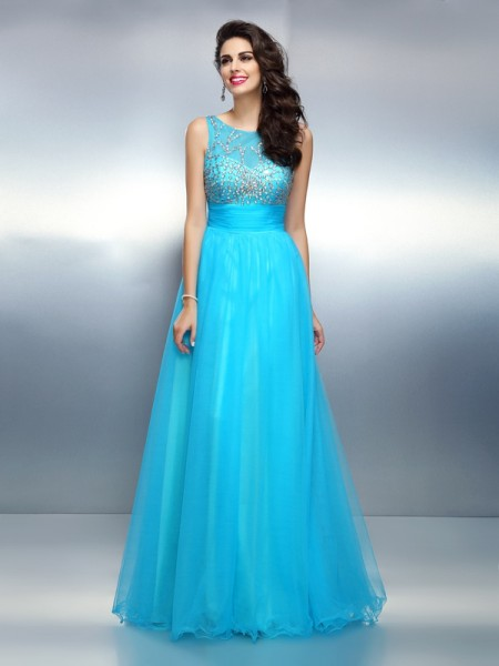 Stylish A-Line/Princess Beading Sleeveless Bateau Long Elastic Woven Satin Dresses