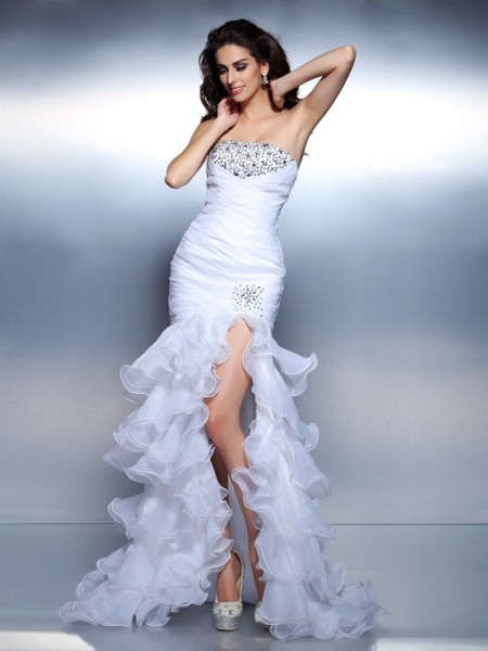 Stylish Trumpet/Mermaid Beading Ruched Strapless Sleeveless Long Organza Dresses