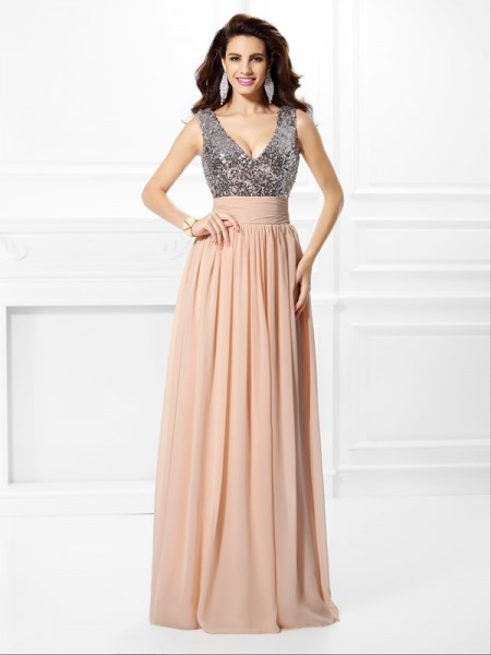 Stylish A-Line/Princess Paillette Sleeveless V-neck Long Chiffon Dresses