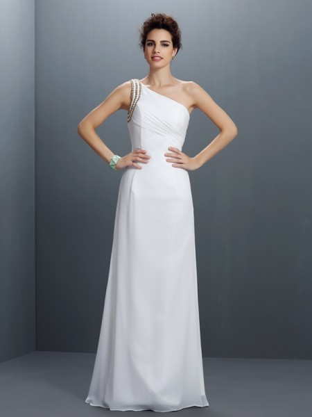 Stylish Sheath/Column Beading Sleeveless One-Shoulder Long Chiffon Dresses