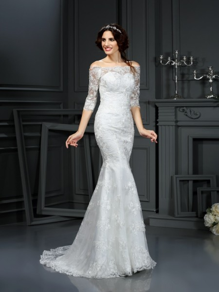 Stylish Sheath/Column Lace 1/2 Sleeves Off-the-Shoulder Long Lace Wedding Dresses