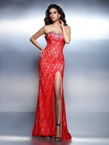 Stylish Trumpet/Mermaid Beading Sleeveless Sweetheart Long Lace Dresses