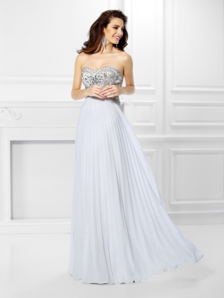Fashion Empire Beading Sleeveless Sweetheart Long Chiffon Dresses
