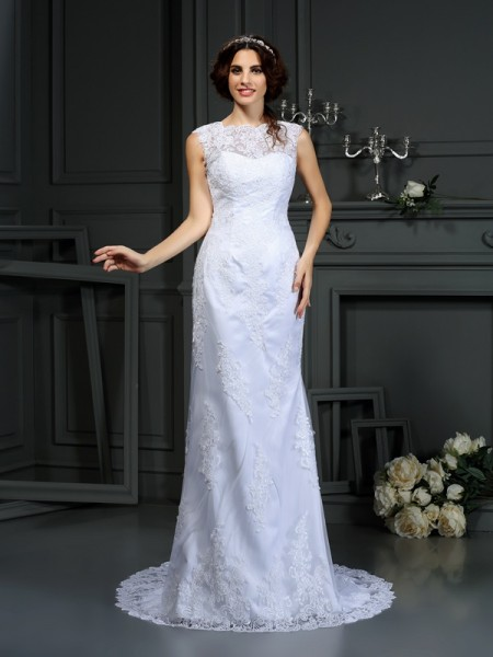 Stylish Sheath/Column Lace Sleeveless High Neck Long Lace Wedding Dresses