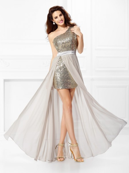 Fashion A-Line/Princess Sequin Sleeveless One-Shoulder Long Chiffon Dresses