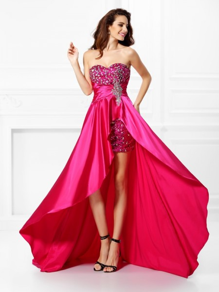 Stylish A-Line/Princess Beading Sleeveless Sweetheart High Low Elastic Woven Satin